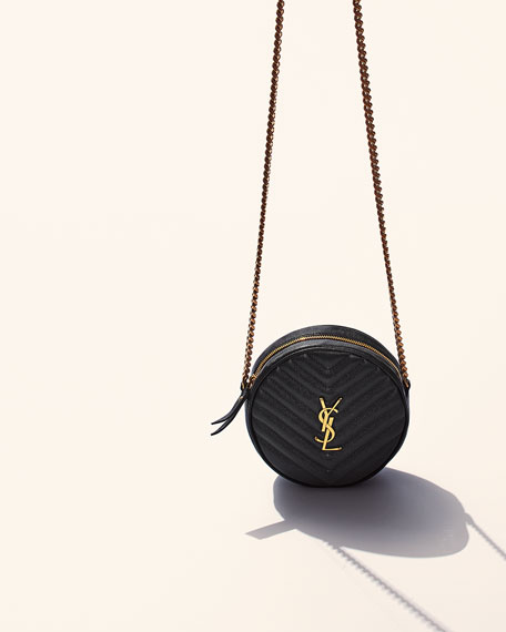 Image 2 of 4: Saint Laurent Jade YSL Round Quilted Grain de Poudre Crossbody Bag