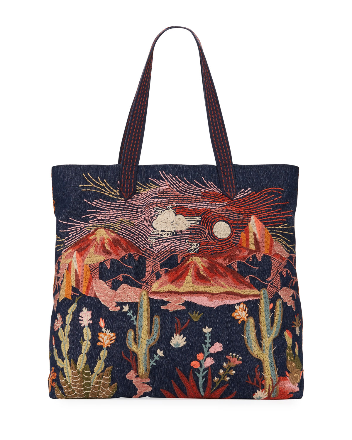 Yucca Embroidered Denim Everyday Tote Bag by Johnny Was