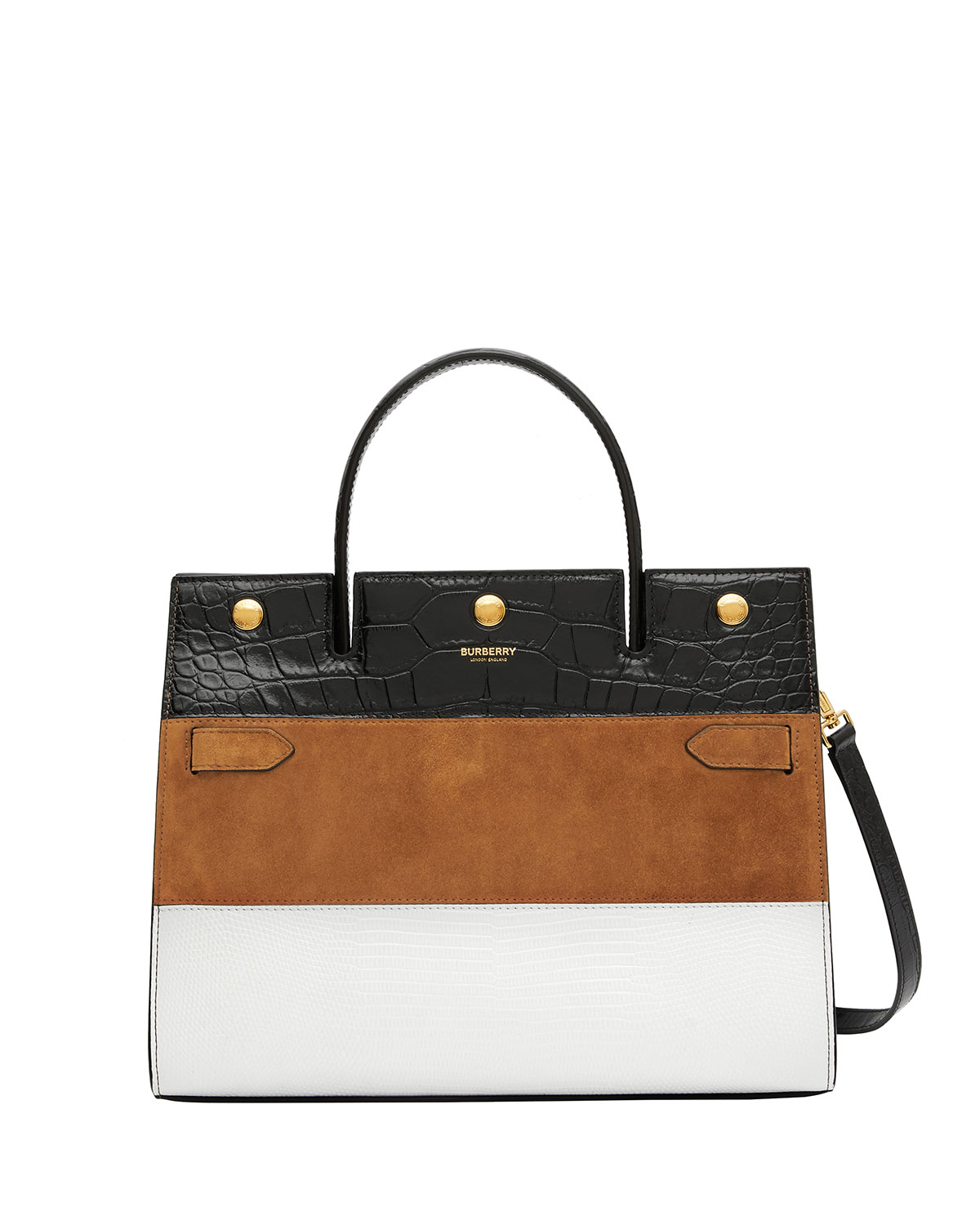 Medium Title Mixed Leather Top Handle Bag by Burberry