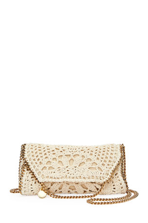 Stella McCartney Falabella Mini Crochet Fold-Over Crossbody Bag