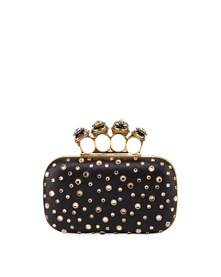 Alexander McQueen Four-Ring Studded Leather Clutch Bag