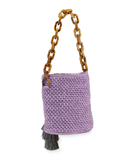 Image 3 of 4: Maison Alma Bahia Top-Handle Basket Bag w/ Tassels