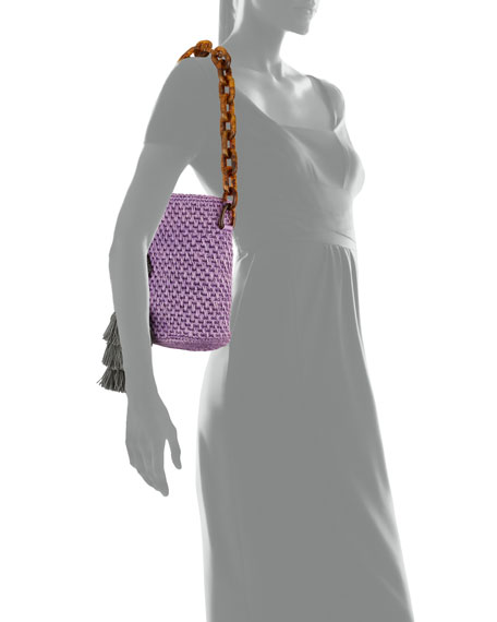 Image 4 of 4: Maison Alma Bahia Top-Handle Basket Bag w/ Tassels