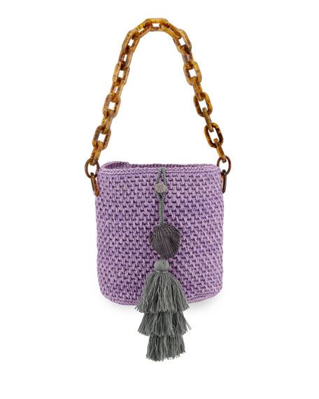 Image 1 of 4: Maison Alma Bahia Top-Handle Basket Bag w/ Tassels