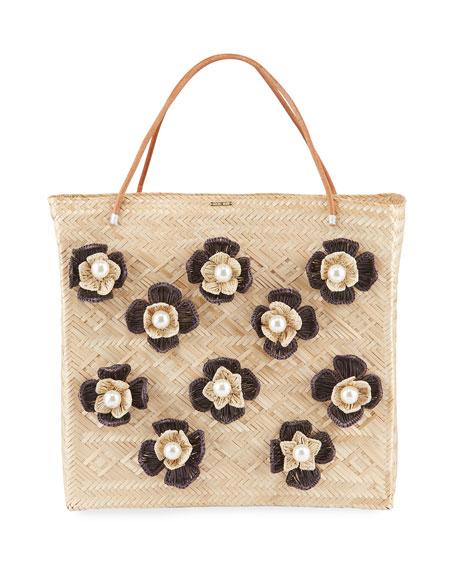 Mercedes Salazar Tropics Flower Embellished Tote Bag