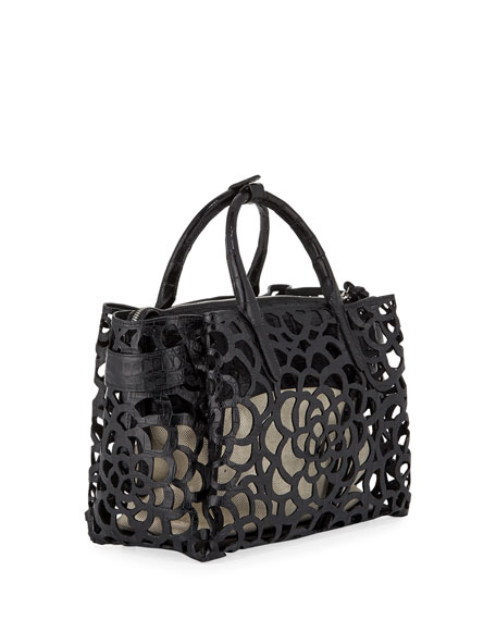 Image 3 of 4: Nancy Gonzalez Limited-Edition Cristie Medium Camellia Croc Tote Bag