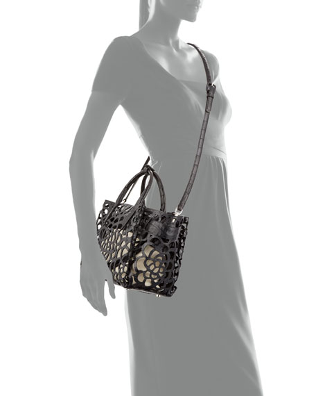 Image 4 of 4: Nancy Gonzalez Limited-Edition Cristie Medium Camellia Croc Tote Bag