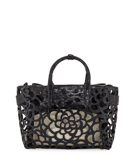 Image 1 of 4: Nancy Gonzalez Limited-Edition Cristie Medium Camellia Croc Tote Bag