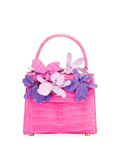 Lily 3D Floral Accented Crocodile Top-Handle Bag