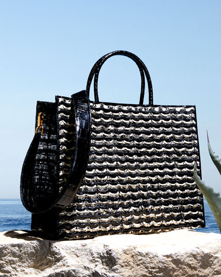 Image 2 of 4: Nancy Gonzalez Emma Large Woven Crocodile Tote Bag