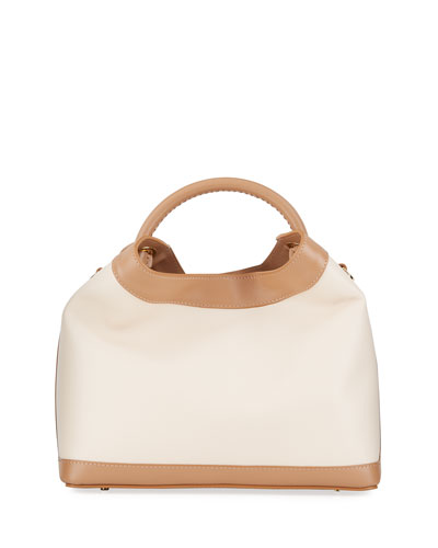 Raisin Leather Top-Handle Bag