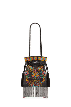 Etro Chatelaine Multipattern Embroidered Leather Pouch Bag