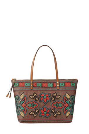 Etro Embroidered Shopper Tote Bag