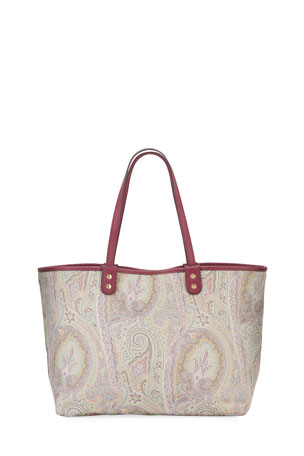 Etro Reversible Leather Paisley Shoulder Tote Bag