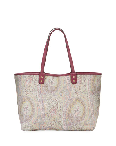 Reversible Leather Paisley Shoulder Tote Bag
