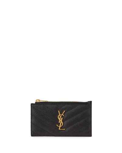 Zip Fragments YSL Monogram  Pouch Card Case Wallet