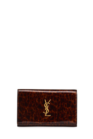Saint Laurent Monogram YSL Large Tortoise-Print Wallet On Chain