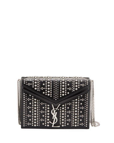 Cassandre Small YSL Monogram Striped Stud Crossbody Bag