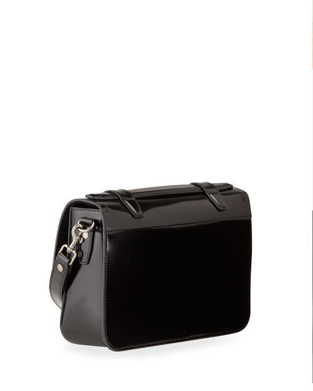 Image 2 of 3: Saint Laurent Schoolbag Medium Shiny Leather Crossbody Bag