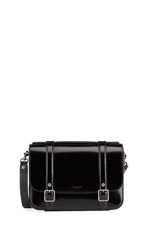 Saint Laurent Schoolbag Medium Shiny Leather Crossbody Bag