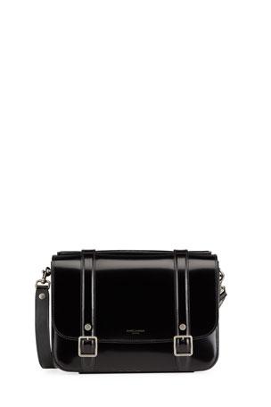 Saint Laurent Schoolbag Medium Shiny Leather Crossbody Bag