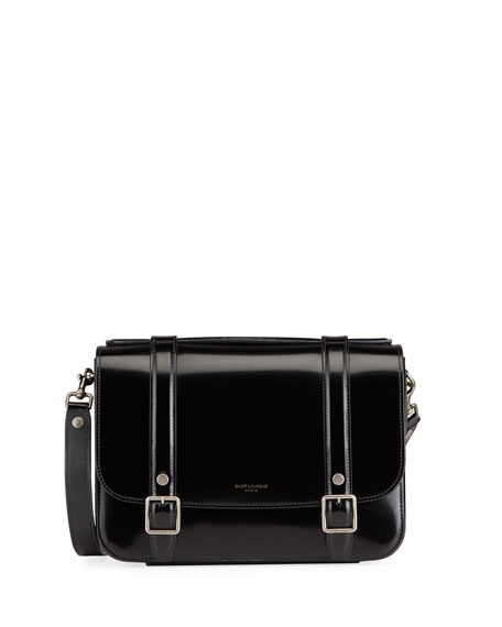 Image 1 of 3: Saint Laurent Schoolbag Medium Shiny Leather Crossbody Bag