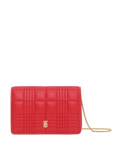 Jessie Check Quilted Smooth Leather Wallet on Chain