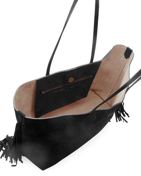Balmain Mock-Croc Fringe Shopper Tote Bag
