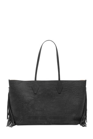 Balmain Mock-Croc Fringe Shopper Tote Bag