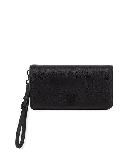 Prada Saffiano Mini Flap Wallet Bag