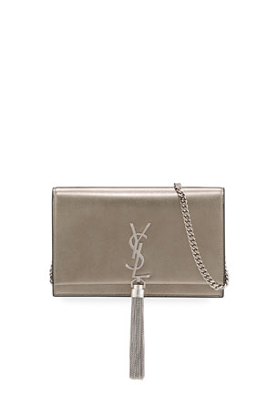 Saint Laurent Kate Monogram YSL Small Calf/Lamb Tassel Wallet on Chain