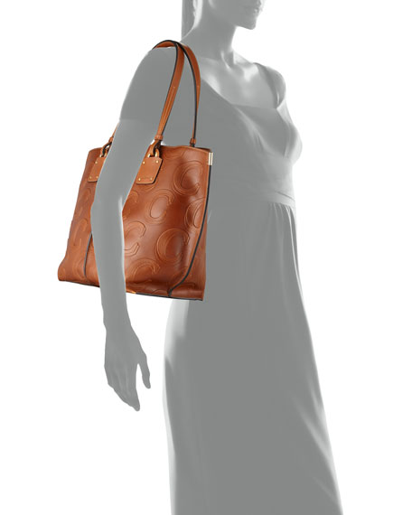 Image 3 of 3: Vick C-Embossed Leather Tote Bag