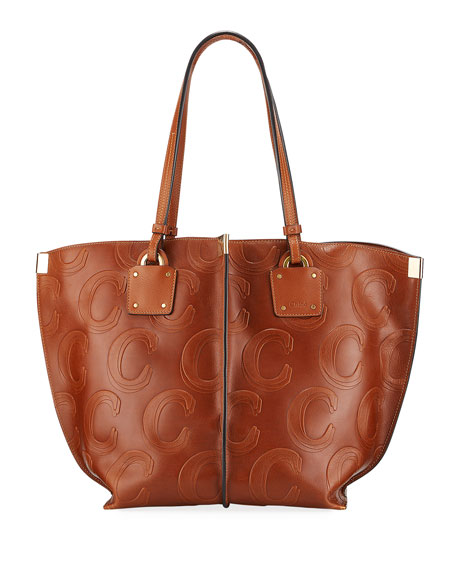 Image 1 of 3: Vick C-Embossed Leather Tote Bag