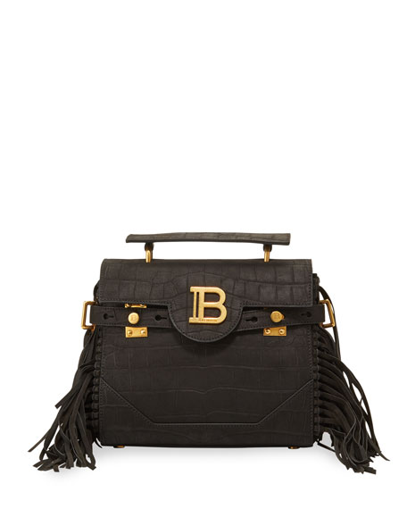 Balmain BBuzz 23 Croc-Embossed Shoulder Bag