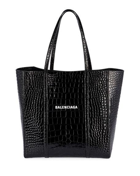 Balenciaga Everyday Small Shiny Embossed Croc Tote Bag