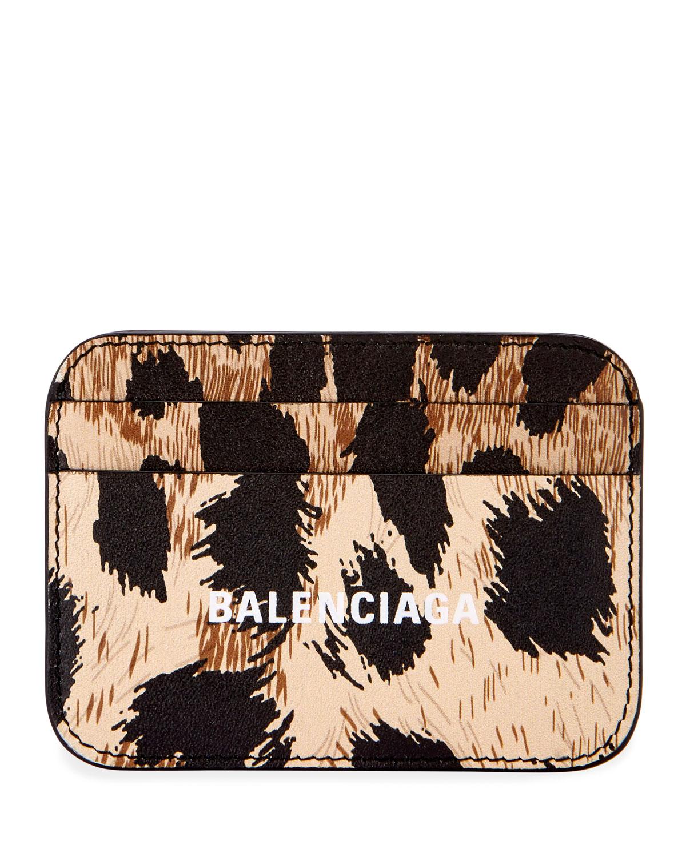 Leopard Print Cash Card Holder by Balenciaga