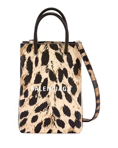 Leopard Shop Phone Holder Crossbody Bag