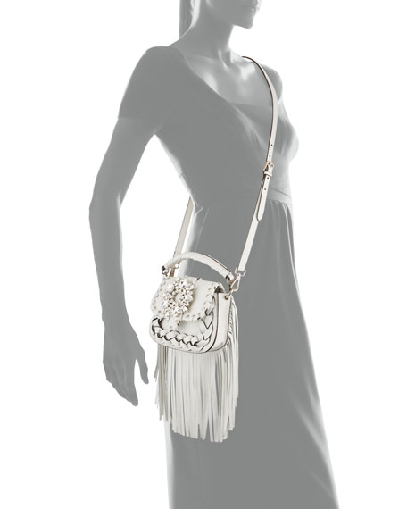 Image 4 of 4: Gedebe Alice Small Top-Handle Fringe Shoulder Bag