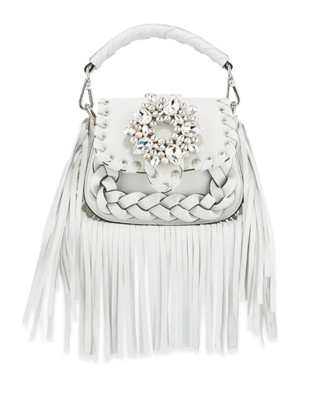 Image 1 of 4: Gedebe Alice Small Top-Handle Fringe Shoulder Bag