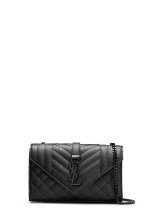 Saint Laurent Small YSL Monogram Leather Satchel Bag