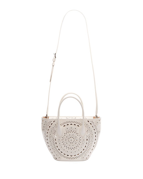 Image 3 of 3: ALAIA Latifa Mini Cuir Lux Tote Bag