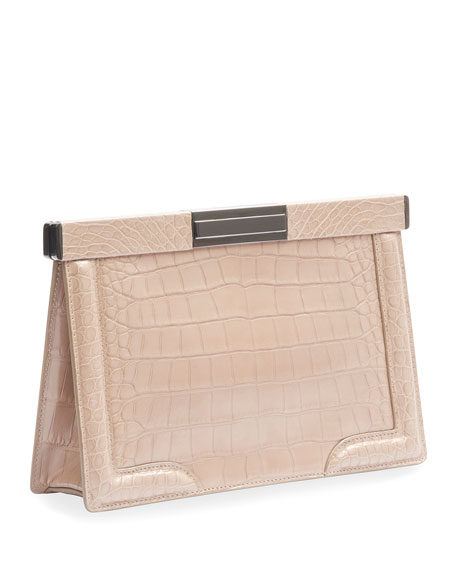 Image 2 of 2: ALAIA Cecile Crocodile-Embossed Leather Clutch Bag