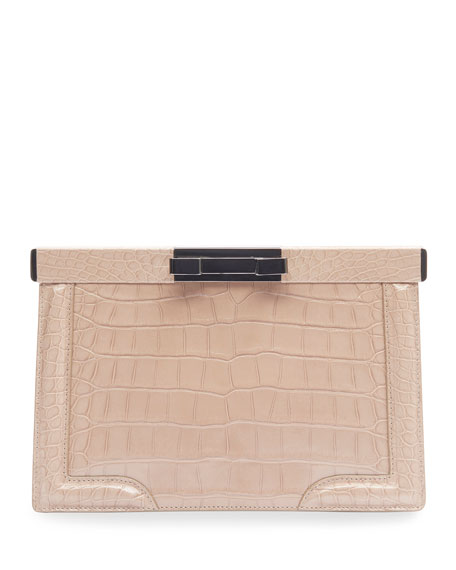 Image 1 of 2: ALAIA Cecile Crocodile-Embossed Leather Clutch Bag