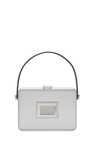 TOM FORD Palmellato Leather Top-Handle Box Bag - Silver Hardware