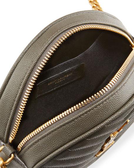 Saint Laurent Jade YSL Round Quilted Grain de Poudre Crossbody Bag