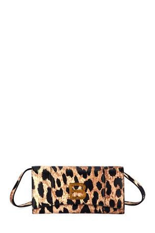 Balenciaga Hour Leopard-Print Medallion Crossbody Bag