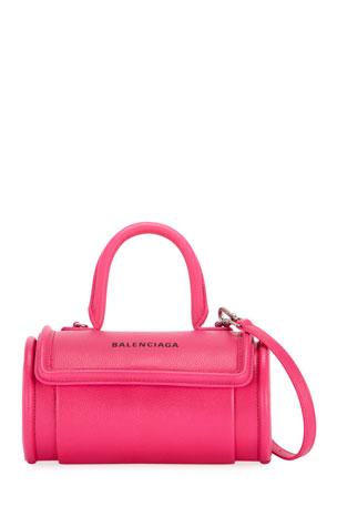 Balenciaga Round Small Leather Top-Handle Bag