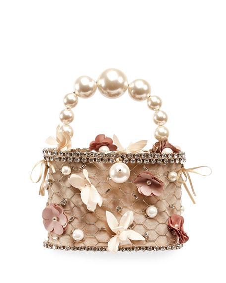 Image 1 of 1: Holli Flower Pearl-Handle Caged Minaudiere Bag
