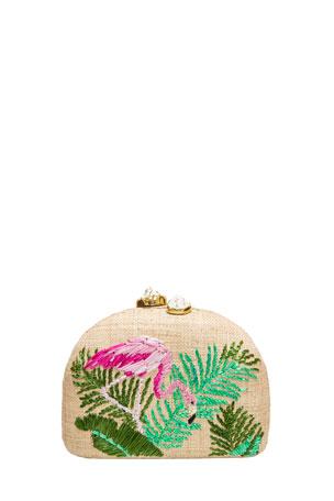 Rafe Ariella Flamingo Embroidered Raffia Clutch