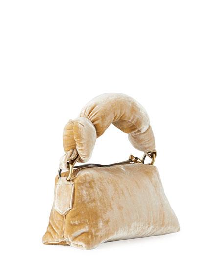 Dries Van Noten Pillowy Velvet Top-Handle Bag